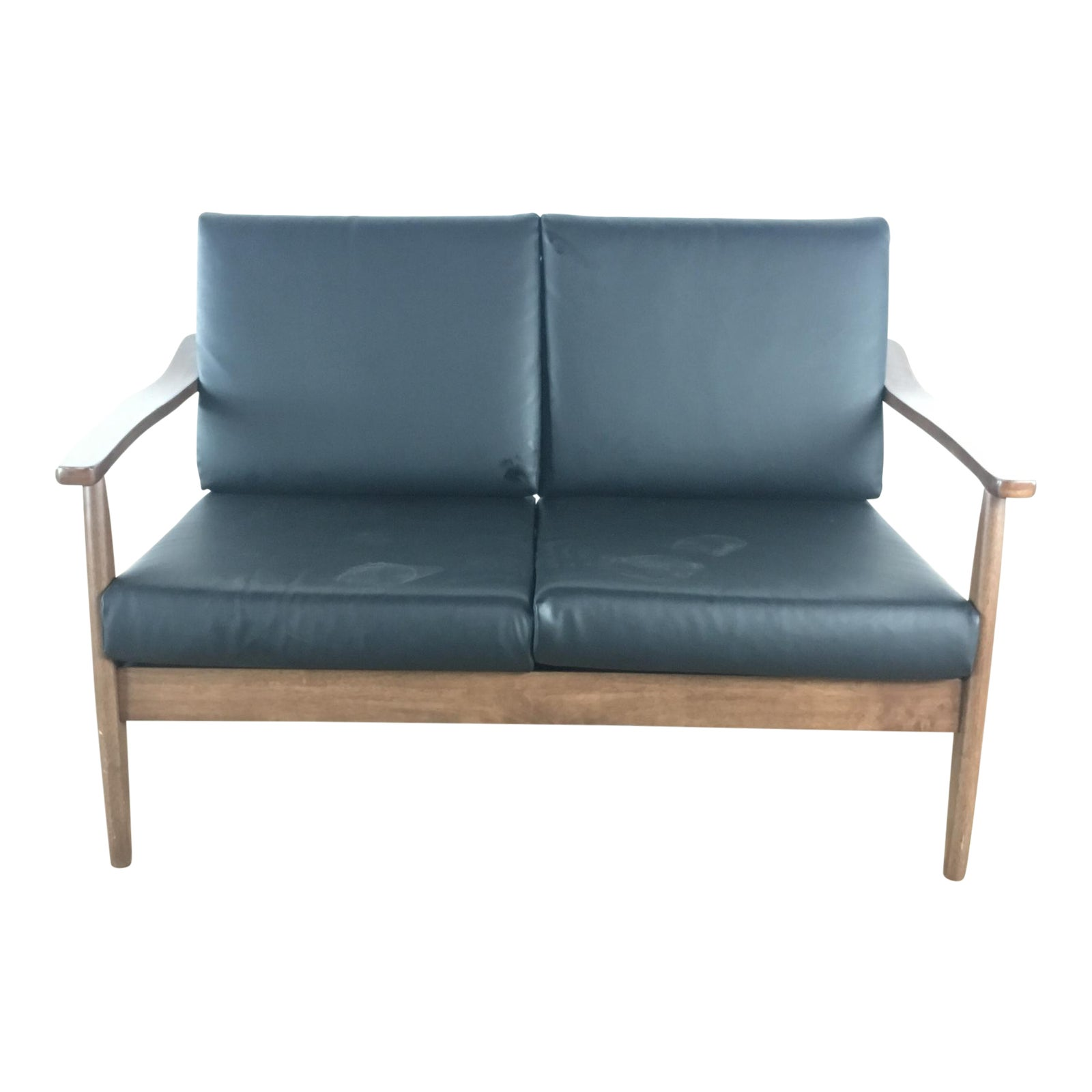 Mid century modern style two cushion leather upholstered wood sofa chairish
