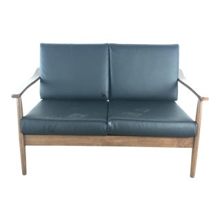 Mid Century Modern Style Two Cushion Leather Upholstered Wood Sofa For Sale