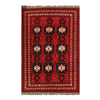 """Pasargad Afghan Bashir Red Hand Knotted Rug - 6′5"""" × 9′7″ For Sale"""