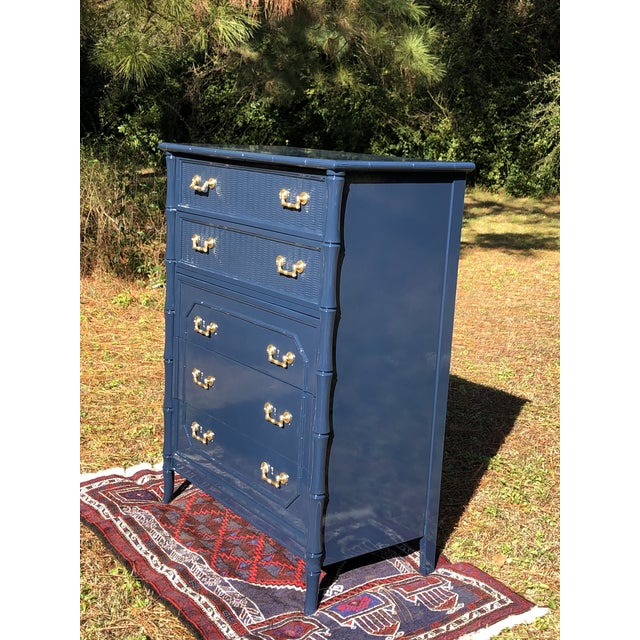 Broyhill 1970s Lacquered Faux Bamboo Broyhill Dresser For Sale - Image 4 of 13