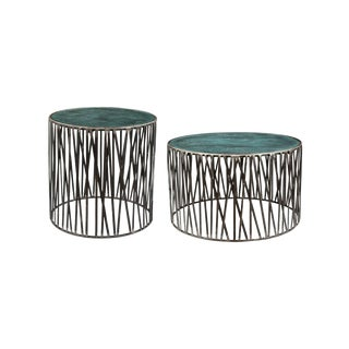 Rustic Garrard Round Metal Side & Coffee Table Set - 2 Piece Set