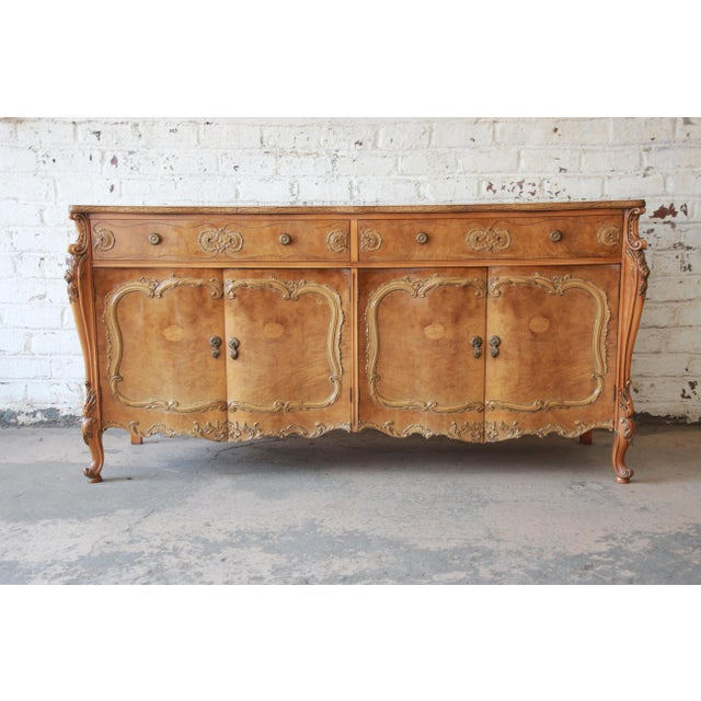 Romweber Ornate Burl Wood French Carved Sideboard Credenza For Sale - Image 12 of 12