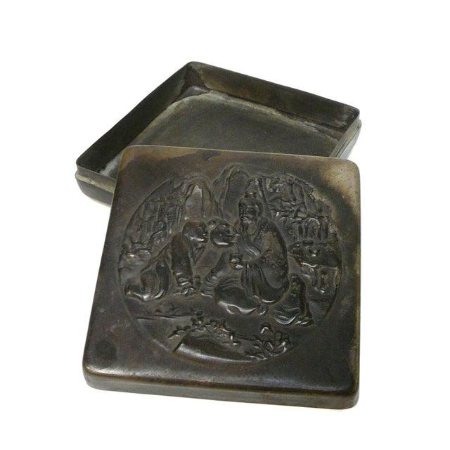 Handmade Metal Bronze Color Trinket Box For Sale - Image 4 of 5