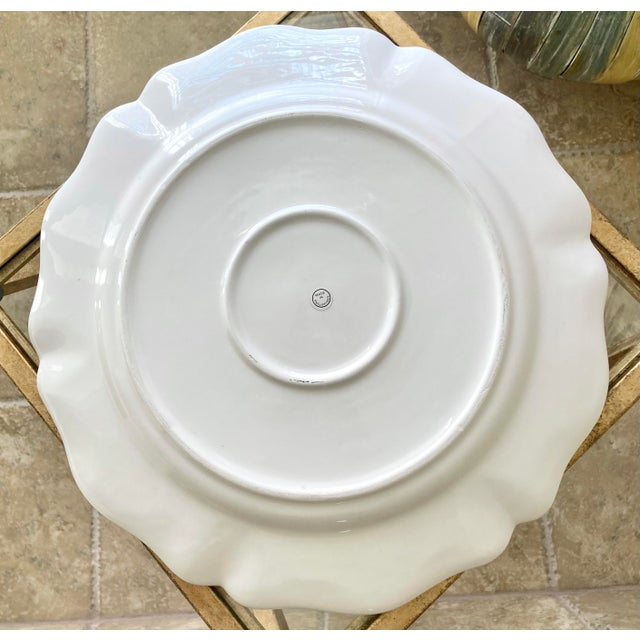 Off-white 1980s Scalloped Border Hand Painted Bluebird Earthenware Platter Made in the Philippines For Sale - Image 8 of 12