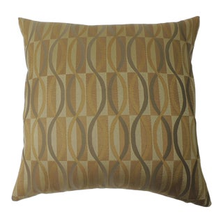 """Pair of Gold and Green """"Mercer"""" Woven Silk Decorative Pillows For Sale"""