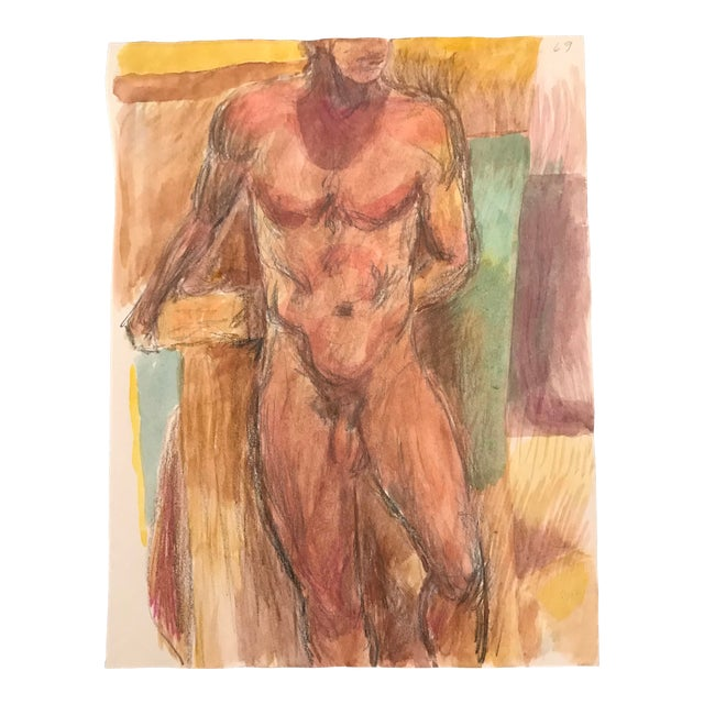 1980s Standing Male Nude Painting by James Bone For Sale