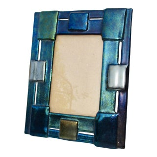 Dichroic Art Glass Photo Frame With Sculptural Panels For Sale
