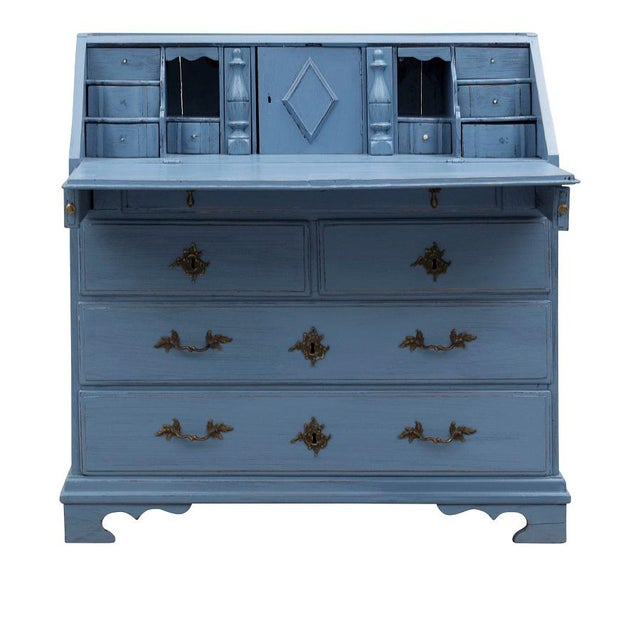 Gustavian (Swedish) Swedish 19th Century Pale Blue Birch Secretary Desk For Sale - Image 3 of 10