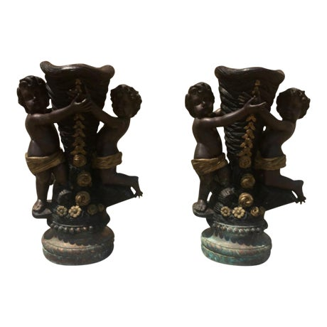Solid Bronze Cherub Planters - A Pair - Image 1 of 4