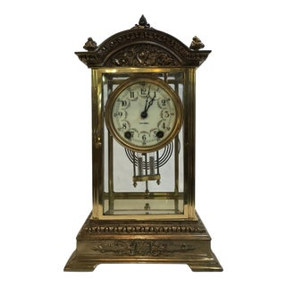 Early 20th Century Early Brass Seth Thomas Crystal Regulator Clock For Sale