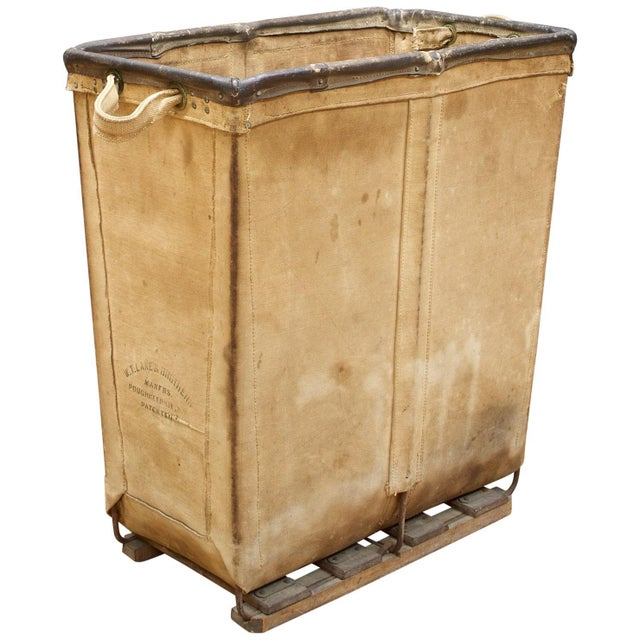 Animal Skin Vintage Petite 1940s Industrial Canvas Laundry Clothing Textile Bin Basket For Sale - Image 7 of 7