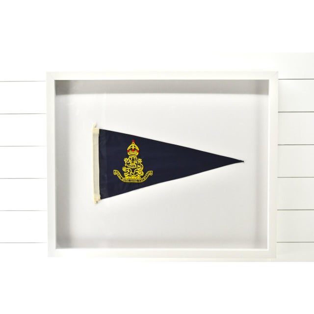 Fairly rare real authentic nautical burgee of The Royal Hong Kong Yacht Club. Very impressive. Professionally framed in a...
