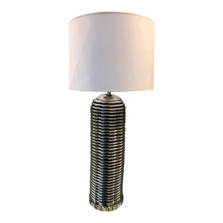 "Tall Mid-Century Modern Chrome ""Beehive"" Table Lamp on Lucite Base"