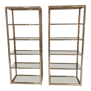 Faux Bamboo Brass Etagere Display Shelves - A Pair For Sale