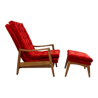 Mid-Century Modern Milo Baughman for Thayer Coggin Red Walnut Rocker and Ottoman For Sale