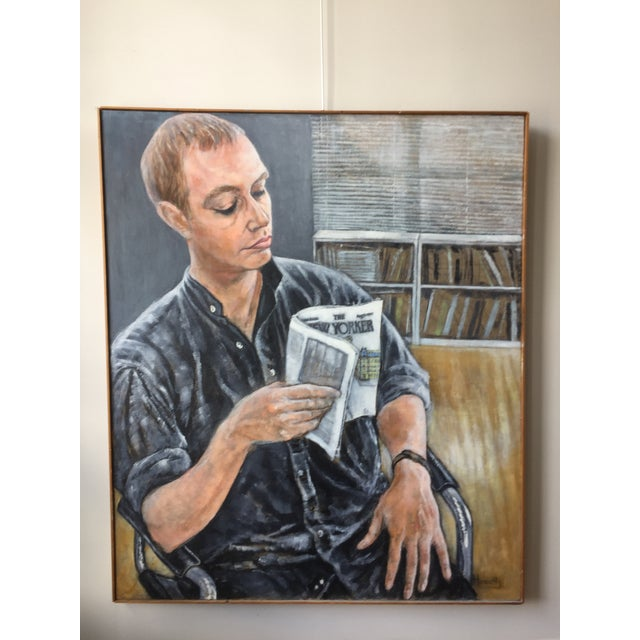 Portrait Painting of Man Reading by Florence Hurewitz For Sale In Philadelphia - Image 6 of 6