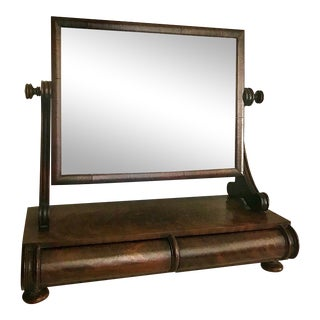 Antique Burl Wood Shaving Vanity Mirror With Drawers For Sale
