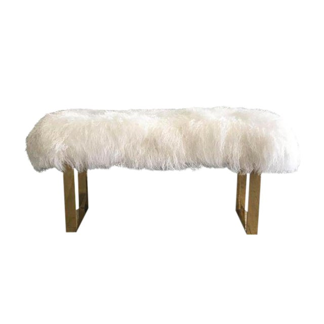 Hollywood Regency Large Mongolian Sheepskin and Brass Bench For Sale In Las Vegas - Image 6 of 6
