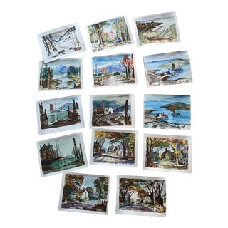 1950s Collection of Watercolors by Walter Killam - Set of 15 For Sale