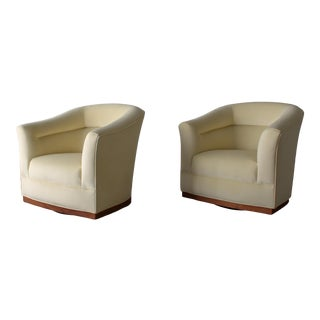 Midcentury Barrel Back Swivel Chairs - a Pair For Sale