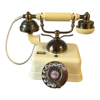 1960s Vintage Light Yellow Rotary Dial Phone For Sale