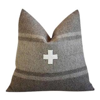 "Custom Italian Appliqué Cross Wool/Linen Feather/Down Pillow 22"" Square"