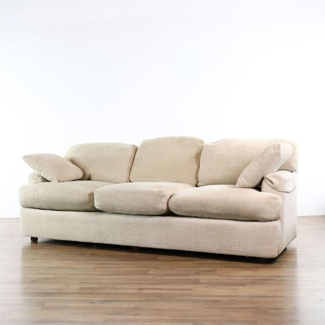 Contemporary Henredon Upholstered Ivory Sofa For Sale - Image 3 of 11