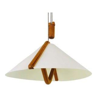 Adjustable Midcentury Wooden Pendant Lamp with Counterweight by Domus, 1960s For Sale
