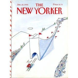 Vintage 1990 New Yorker Cover, January 22 (Niculae Asciu), Skiing, Winter Sports For Sale