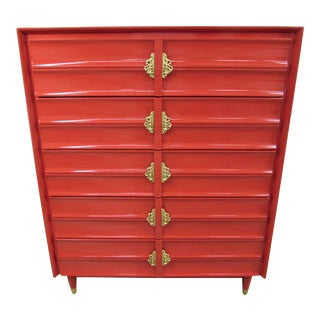 Hungerford Rave Red Lacquered Five-Drawer Chest For Sale