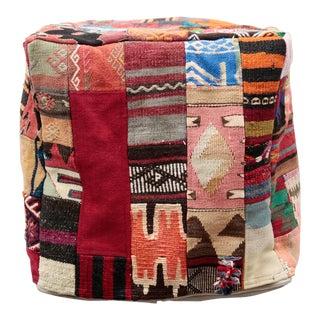 21st Century Vintage Decorative Kilim Patchwork Rectangle Pouf For Sale