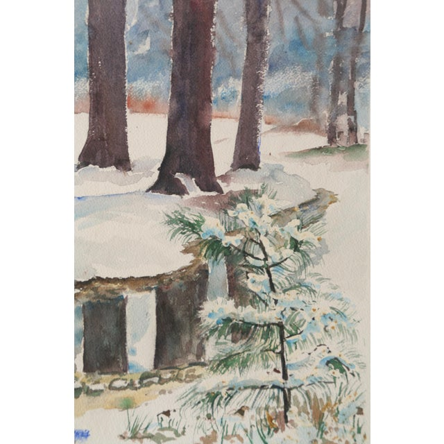 Vintage Watercolor Painting of Snow on Trees - Image 2 of 5