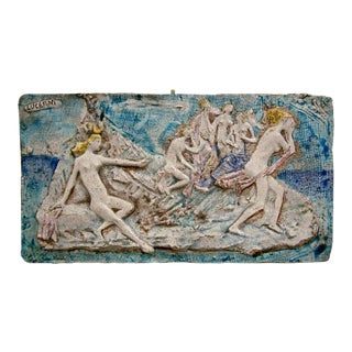 Ugo Lucerni Majolica Wall Relief Sculpture For Sale