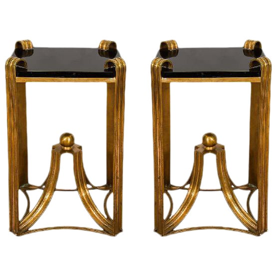 ART DECO MODERNE PAIR OF RARE BRONZE SIDE TABLES For Sale