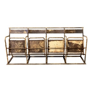 1940 Antique French Industrial Iron Bench For Sale