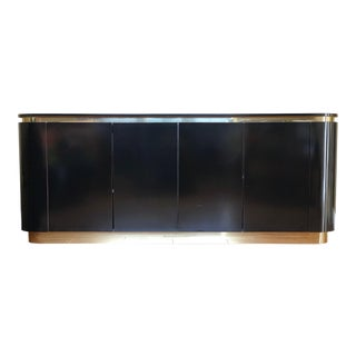 1970s Art Deco Karl Springer Black Lacquer and Brass Sideboard Credenza For Sale