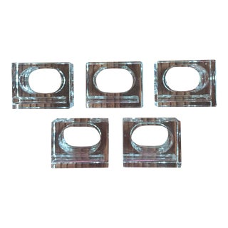 Modernist Lucite Cube Napkin Rings - Set of 5
