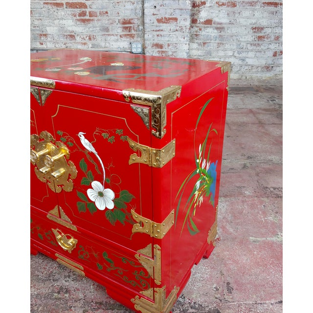 Chinese Beautiful Red Lacquered Commodes - a Pair For Sale - Image 9 of 11