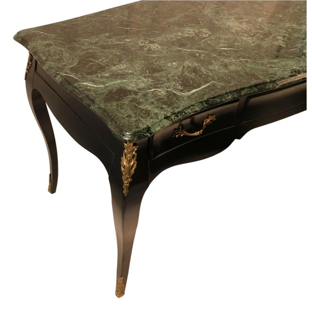 Louis XV Style Bureau Plat Marble French Writing Desk For Sale - Image 5 of 10