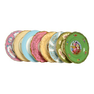 Vintage Mixed Jewel Tone Dinner Plates - Set of 8