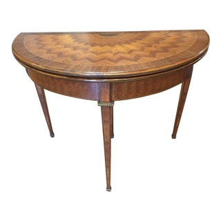 1950s French Style Demilune Flip Top Card Table For Sale