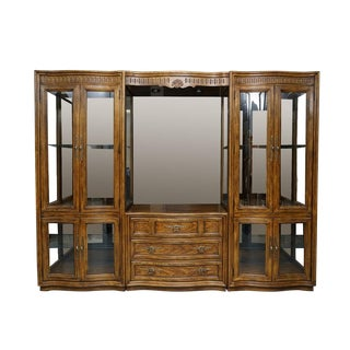 Illuminated Neoclassical Wall Unit Storage Cabinet by Drexel-Heritage For Sale