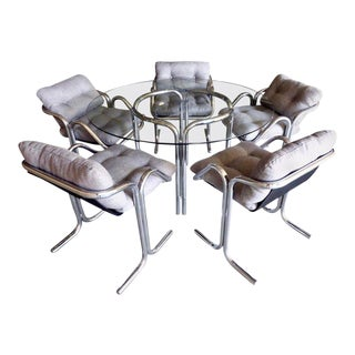 Chrome-Plated Tubular Steel Dining Set Designed by Jerry Johnson C. 1970s For Sale