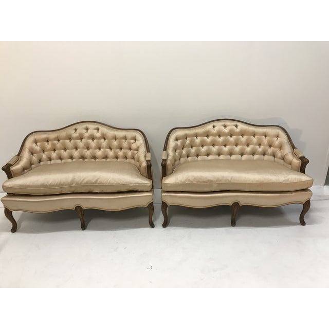 1960s Country French Loveseats Settee Cabriole Leg Louis XV Style Button Tufted Carved Frame - a Pair For Sale - Image 12 of 12