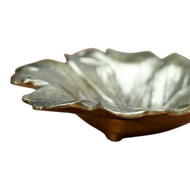 Virginia Metalcrafters 1948 Virginia Metalcrafters Mayapple Leaf Brass Dish For Sale - Image 4 of 7