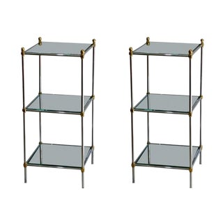 Pair of Chic French 1960s Three-Tiered Mirrored Side Tables For Sale