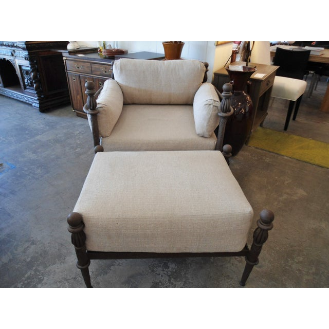 Traditional Michael Taylor Montecito Iron Lounge Chair W/ Ottoman For Sale - Image 3 of 5