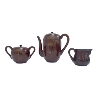 Mid-Century Japanese Hand Painted Tea / Coffee Service Set - 3 Piece Set For Sale