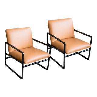 1960s Ward Bennett Armchairs in Leather - a Pair For Sale