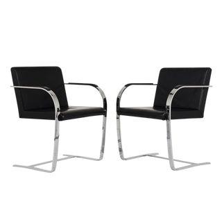 Pair of Mid-Century Modern Mies Van Der Rohe Flatbar Brno Chairs